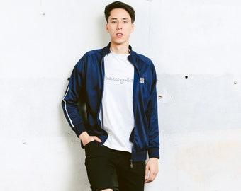 Men's Track Jacket . 90s Vintage Blue Jacket Zip Up Sports Jacket Unisex Tracksuit Top Streetwear Rave Jacket . size Medium M