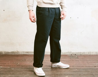 Vintage Chino Pants . 90s Navy Blue Trousers Smart Casual Pants Men 90s Trousers Classic Straight Pants . size Large , 50