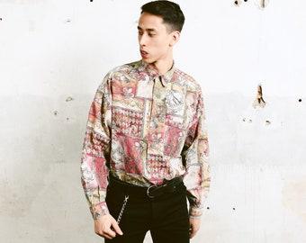 90s Abstract Print Shirt . Bold Men Printed Shirt Long Sleeve Casual Shirt Everyday Shirt Soft Shirt . size Large L