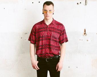 Vintage Red Printed Shirt . 1990s Men's Short Sleeve Skater Shirt Patterned 90s Shirt Button Down Vacation Shirt Aztec Shirt . size Large L