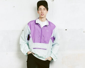 Purple Vintage Shell Jacket . Mens 90s Jacket Zip Up Windbreaker Purple 90s Jacket Sports Jacket Anorak 90s Clothing . size Large L