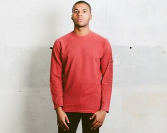 Minimalist Wrangler Sweatshirt . Vintage 80s Mens Red Sweatshirt Long Sleeve TShirt Menswear Everyday Clothing Activewear . size Medium M