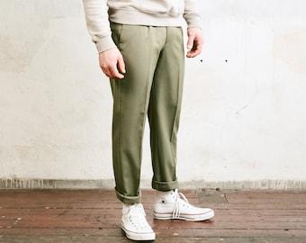 Vintage Khaki Chino Pants . Men Chino Casual Classic Pants 90s Pants Tapered Leg Dad Pants Oldschool Chinos Everyday Clothing . size Medium