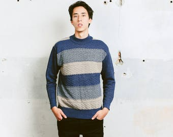 Vintage Striped Blue Sweater . Men's 90s Clothing Warm Knit Sweater Colorblock Unisex Pullover Boyfriend Gift For Him Menswear . size Medium