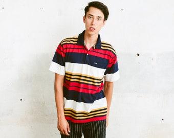 Boss Polo Shirt . Vintage 90s Striped Rugby Shirt Striped Sweater Golf Tennis Shirt Boyfriend Gift . size Medium M