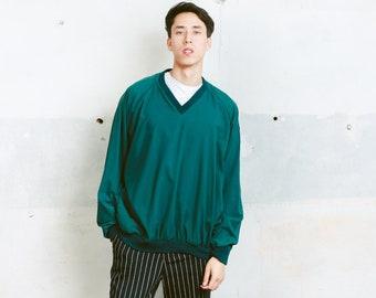 Mens 90s Green Windbreaker Sweater . Pullover Jacket Shellsuit Shell Jacket Sweatshirt Vintage Golf Sweater Athelisure Activewear . size XXL