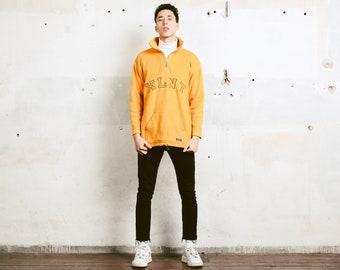 Yellow Fleece Sweatshirt . Athleisure Wear 90s Soft Pullover Comfy Winter Sweater Activewear Fleece Sweater Anorak Jacket  . size Medium M