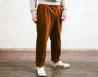 70s Corduroy Trousers . Retro Nerd Pants Vintage Men Brown Pants Thick Cord Pants Hipster Pants Straight Leg Pants . size Medium 44