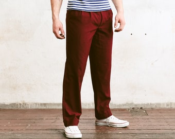 Vintage Red Men Trousers . Mens 80s Pants Straight Leg Dad Pants Oldschool Chinos Nerd Everyday Clothing Dad Gift . size Large L