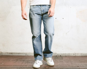 Levis 501 Denim Pants . Vintage Jeans Light Wash Blue Denim Pants Dad Jeans Casual Trousers Faded Jeans . size W33 L32