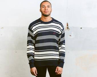 Vintage 90s Striped Sweater . Men's Peak Performance Cotton Sweater 1990s Menswear Oversized Sweater Boyfriend Wear . size Large L