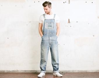 LEE Union Made Denim Dungarees . Bib Overalls Workwear Vintage 80s Light Wash Jean Dungarees Men's Car Mechanic Jumpsuit . size Extra Large