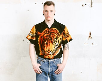 Tiger Print Summer Shirt . Vintage Men Black Bold Novelty Print Shirt Short Sleeve Casual Shirt Printed Shirt Soft Silk Shirt . size Large L