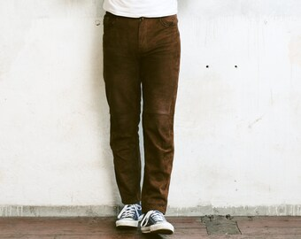 Men's Suede Leather Trousers . Vintage 90s Brown Suede Slim Pants Ankle Pants Nerd Pants Boyfriend Gift Hipster Pants . size Small