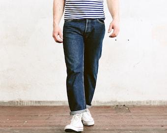 Vintage Levis 501 Pants . Mens Jeans Dark Wash Blue Denim Pants Dad Jeans Casual Trousers . size W34 L30