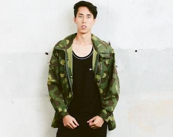 Army Parka Jacket . Camouflage Mens 90s Jacket Vintage Camo Jacket Military Style Outerwear Boyfriend Gift Autumn Jacket . size Large L