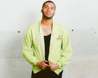Vintage Zip Up Sweatshirt . 80s Unisex Neon Jacket Hipster Men Oversized Jacket Retro 80s Sweatshirt Boyfriend Wear . size Large L