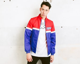 Vintage 80s Racing Jacket with Removable Sleeves . Vintage Biker Jacket Colourblock Jacket Sports Jacket Men Windbreaker . size Small