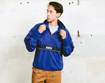 Mens Smock Jacket . Vintage Half Zip Pullover Jacket Lightweight Unisex Jacket Boyfriend Gift Mens Windbreaker . size Medium M