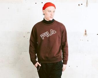 90s FILA Sweatshirt . Men's Brown Sweatshirt Long Sleeve Top 1990s Pullover Athleisure Sweater Boyfriend Wear Sportswear . size Extra Large
