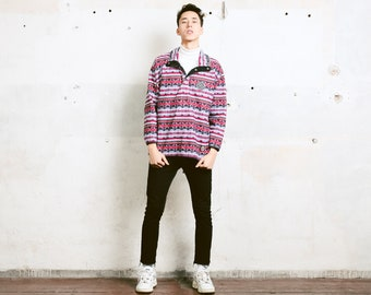 Striped Fleece Sweatshirt . Men 90s Sweater Aztec Patterned Pullover Ethnic Sweater Comfy Fleece Sweater Winter Jumper . size Medium