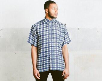 Vintage Silk Shirt . Men's Patterned Summer Top Plaid Shirt 1990s Men Summer Clothing Retro 90s Shirt Hipster Boyfriend Wear . size Medium M