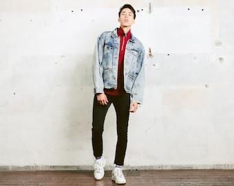 Mens Vintage 80s Acid Wash Denim Jacket . Blue Jeans Jacket Oversized Trucker Jacket 90s Grunge Jacket Outerwear . size Large