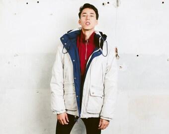 Vintage 90s Style Jacket . Mens Oversized Reversible Dawn Puffer Jacket Unisex Winter Jacket Coat Padded Hooded . size Medium M