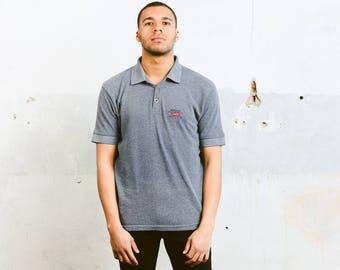 Mens Vintage Levis Polo Shirt . 90s Levi Stauss Mens Blue T-Shirt Normcore Thick Tee Shirt Minimalist Top Retro Cotton T-Shirt . size Large