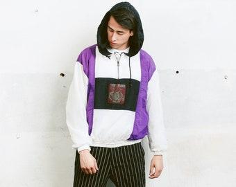 Hooded Men's Shell Jacket . Vintage Hooded Anorak 90s Mens Sports Jacket Athleisure Jacket 90s Men Clothing . size Medium M