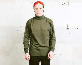 Green Turtleneck Sweatshirt . Men's Vintage Minimalist Top High Neck Jumper Mock Neck Sweater 90s Athleisure Sweater . size Large
