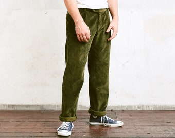 Vintage 90s Mens Green CORDUROY Pants . Mens Cord Trousers Tappered Pants Dad Peg Leg Hipster Nerd Pants . size Large