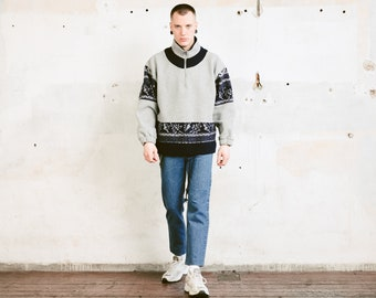 90s Aztec Fleece Jumper . Vintage Leaf Print Grey Sweater Quarter Zip Sweatshirt Soft Comfy Sweater Oversized Pullover . size Extra Large XL