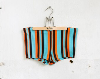Vintage Swim Trunks . Striped 70s Swimwear Men Booty Shorts Beachwear Retro Bathing Suit Swim Pants For Men Beach Shorts . size Medium M