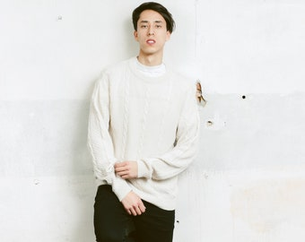 90s Fisherman Sweater . Aran Cable Knit Sweater Jumper Men Gift Spring Pullover White Sweater Knitwear . size Small S