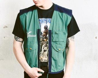 Men's Green Cargo Vest . Vintage 80s Fishermen Vest Sleeveless Jacket Camping Vest Outerwear Multi Pocket Gilet Dadcore Vest . size Medium M