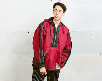 Anorak Windbreaker Jacket . Mens 90s Anorak Jacket Bold Windbreaker 90s Jacket Sports Rain Jacket 90s Clothing . size Extra Large XL