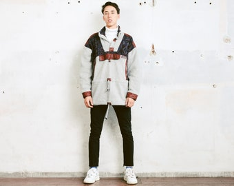 Aztec Fleece Sweater . 80s Soft Sweater Unisex Pullover Cozy Comfy Sweater Boyfriend Gift Mens Anorak Jacket Winter Wear . size Extra Large