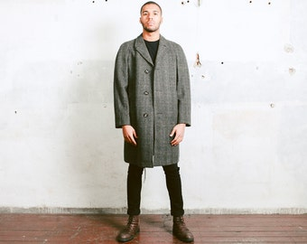 Vintage Wool Overcoat . 70s Men's Wool Winter Jacket Topcoat Mens Winter Wear Greatcoat Vintage 1970s Luxurious Clothing . size XL