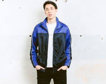 Vintage Sports Jacket . Mens 90s Jacket Zip Up Track Jacket Unisex Tracksuit Top Streetwear Hipster Boyfriend Wear . size Medium M