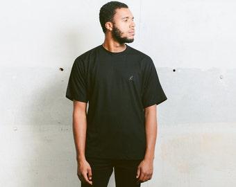 Men's Retro Black T-Shirt . 90s Vintage Black Sports Top Minimalist Men Sports T-Shirt Activewear 1990s Boyfriend Wear . size Large L