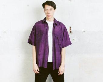 Purple Men Silk Shirt . Men's Vintage 90s Purple Silk Shirt Summer Shirt Unisex 1990s Short Sleeve Shirt Boyfriend Gift . size Large L