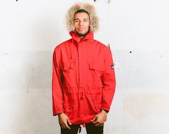 Mens Smock Jacket . 80s Fur Trim Anorak Jacket Rain Wind Coat Outerwear Red Hooded Jacket Festival Wear 80s Spring Jacket . size Large L