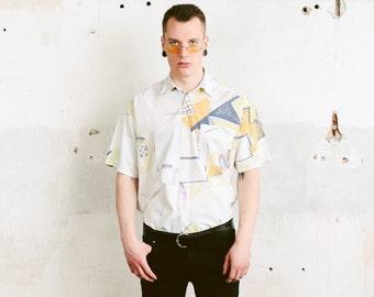 Men's Retro Abstract Print Shirt . 90s Vintage Geometric Print Artist Shirt Short Sleeve Casual Shirt Printed Shirt Soft Shirt . size Large