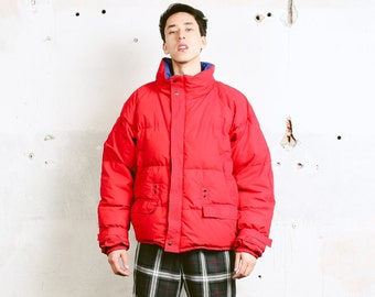Red Down Puffer Jacket . Vintage 90s Mens Jacket Padded Jacket Warm Winter Jacket Thick Jacket Puffer Coat Mens Winter Wear . size Large L