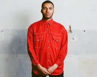 Red Denim Shirt . Vintage Red 80s Shirt Mens Jean Shirt Long Sleeve Hipster Shirt 1980s Cowboy Outfit Boyfriend Wear . size XL Extra Large