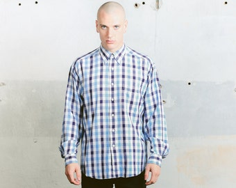 Checkered Casual Cotton Shirt . Vintage 90s Oxford Shirt Long Sleeve Plaid Shirt Boyfriend Gift Everyday Wear 90s Clothing . size Medium M
