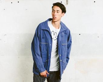 Windbreaker Jacket . Men's 90s Jacket Blue Jacket 90s Parka Jacket Hipster Boyfriend Wear Outerwear Activewear . size Large L