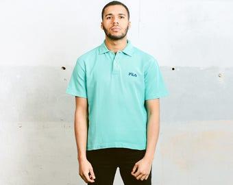 80s Fila Polo Shirt . Vintage Minimalist Mens Blue T-Shirt Everyday Wear Retro Cotton T-Shirt Casual Summer Top Men Clothing 80s . sz Medium