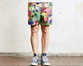 Bold Men Swim Shorts . Vintage 90s Printed Beach Shorts Swim Trunks Bold Surfer Shorts Floral Patterned Swimwear Beachwear . size Medium M